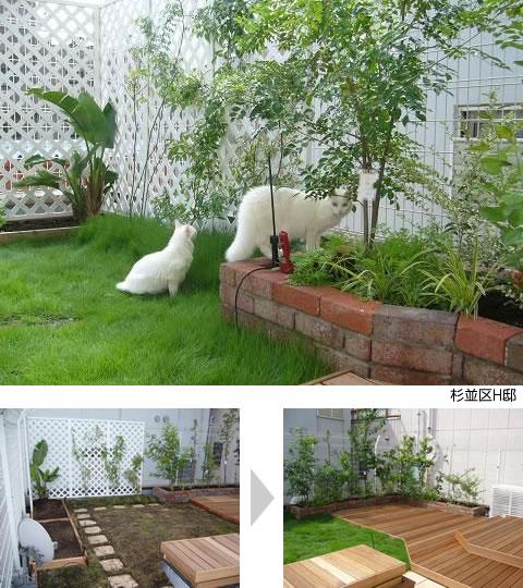 個人邸の屋上を緑化した例